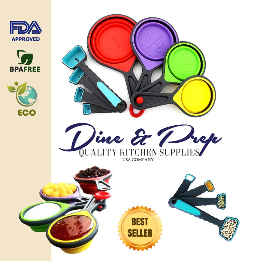 Dine & Prep - Quality Kitchen Supplies Measuring Cups and Tablespoons Set