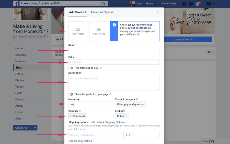 How to Set Up Facebook Store - Make a Living from Home in 2017