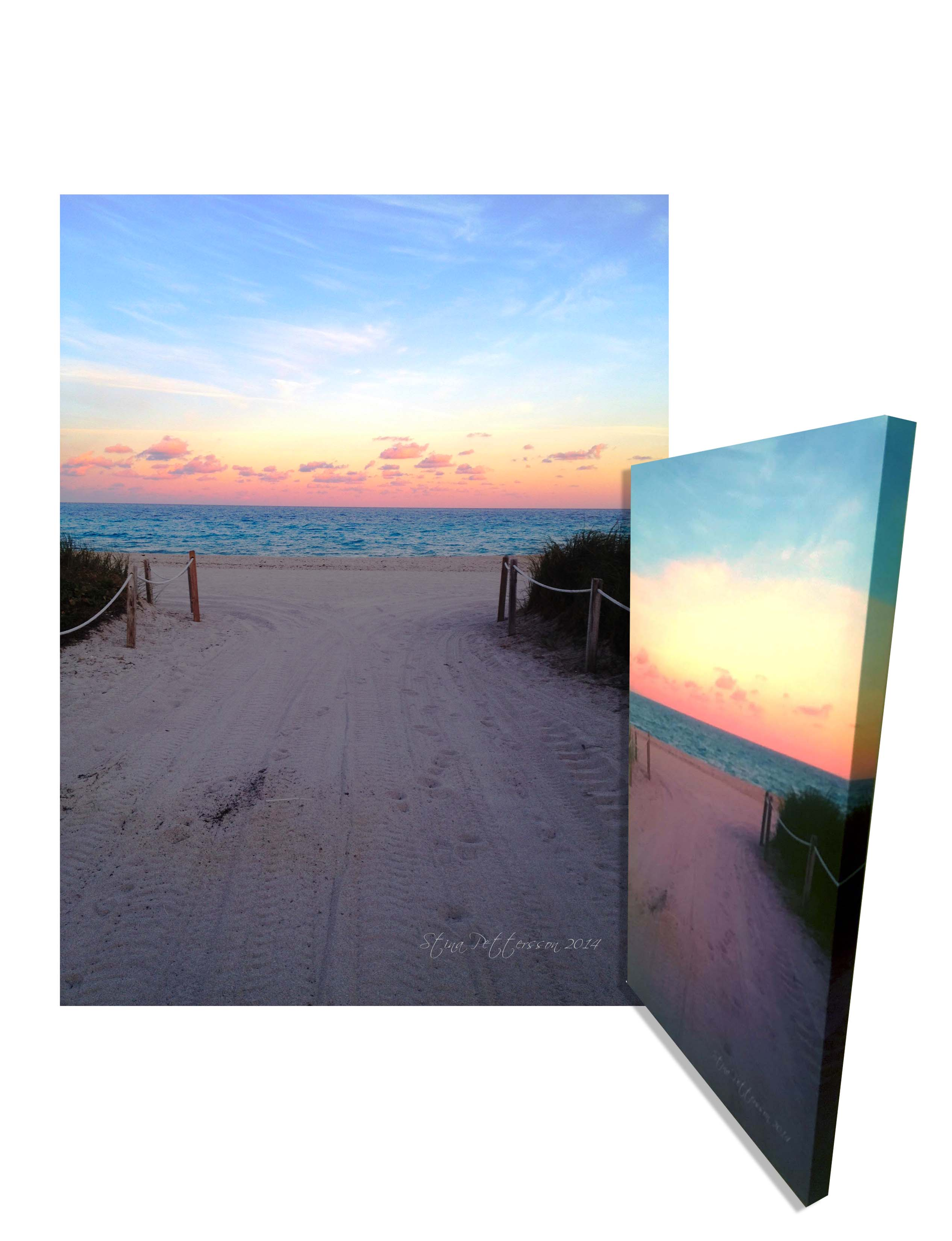 Limited Edition Beautiful Large 24″ x 36″ Canvas Wall Art Of the Miami Beach Sunset – FREE Shipping