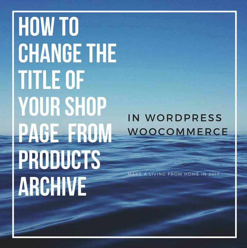 How To Change the Title Of Your Web Shop In WordPress WooCommerce From Products Archive To Shop - Make a Living from Home in 2017