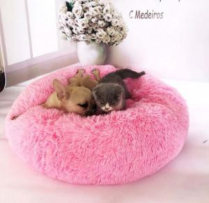 Faux Fur Dounut Dog Bed - Sold by Get Happy e-Deals