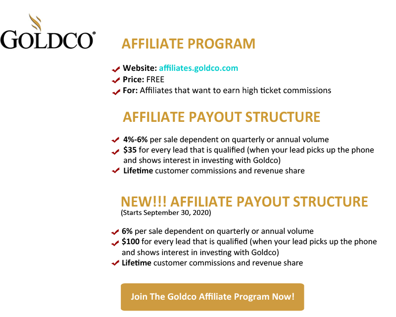 Goldco Affiliate Program - The Best High Ticket Affiliate Program